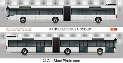 bus, vektor, mock-up, artikuliert