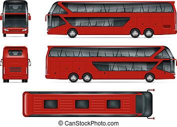 bus, vektor, rotes , mockup