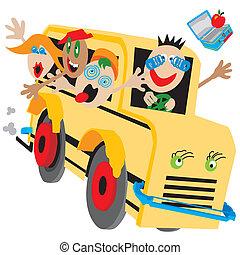 bus, verrückt, schule