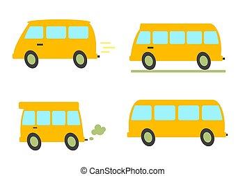 bus, verzameling, achtergrond., gevarieerd, gele, witte