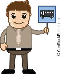 bus, viser, vektor, signboard, mand