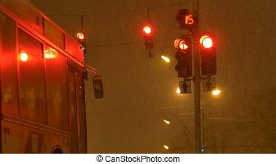 Bus Waiting to Traffic Lights