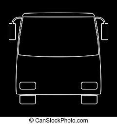 Bus white color path icon .