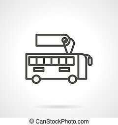 Bus with sale label black line design vector icon