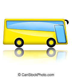 Bus - Yellow bus illustration isolated over white background