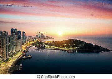 Busan beach with sunrise sky on summer,