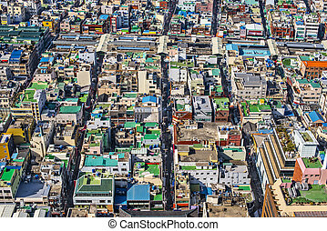 Rooftops in Busan, South Korea.