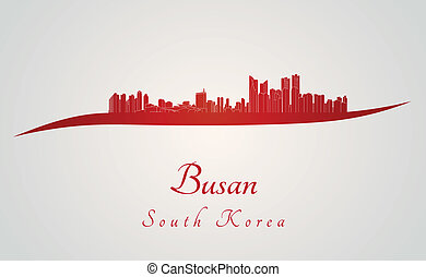 Busan skyline in red