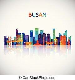 Busan skyline silhouette in colorful geometric style.