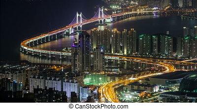 Busan, South Korea aerial view timelapse at night