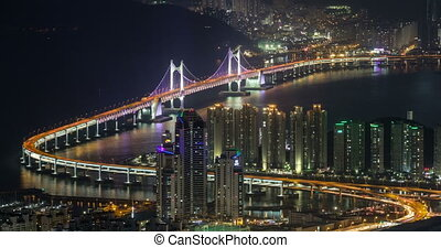 Busan, South Korea aerial view timelapse at night. With...