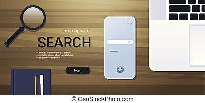 busca, conceito, ângulo, espaço escritório, móvel, laptop, online, desktop, topo, material, local trabalho, percorrendo, smartphone, horizontais, cópia, tela, app, vista