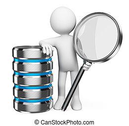 busca, conceito, base dados, pessoas., branca, 3d