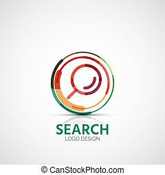 busca, conceito, negócio, companhia, vetorial, logotipo