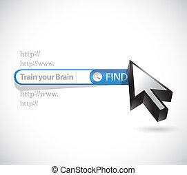 busca, conceito, sinal barra, cérebro, trem, seu