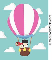 busca, conceito, success., negócio, balloon, ar, homem negócios