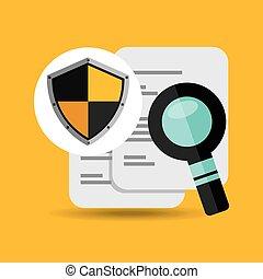 busca, documento, desenho, escudo, proteção