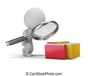 busca, documentos, pessoas, -, pequeno, 3d