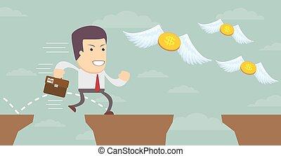 busca, illustration., dinheiro., vetorial, homem, estoque