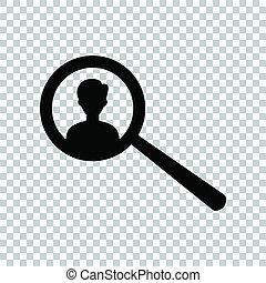 busca, illustration., empregados, experiência., pretas, job., transparente, ícone