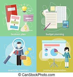 busca, investidores, negócio, orçamento, planificação, plano