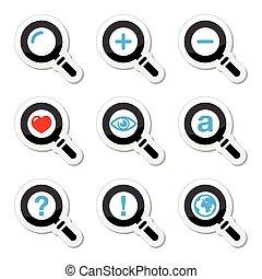 busca, jogo, magnyfying, vidro, ícones