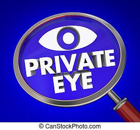 busca, olho, investigador, privado, vidro, pistas, magnificar
