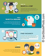 busca trabalho, após, universidade, infographic.,...