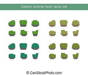 busch, vektor, grün, satz