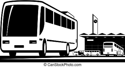 Buses arrive and depart at station
