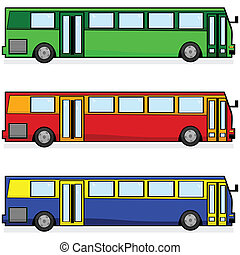 Cartoon illustration of three modern buses, in different colors