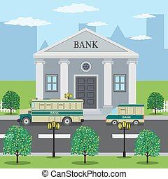Buses near bank building. - Bank buses are on the road near...