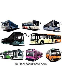 buses., osm, il, vektor, město, coach.