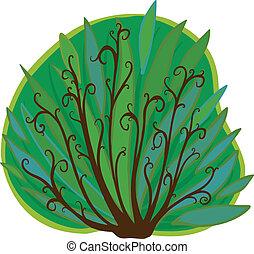 bush., cartone animato, isolato
