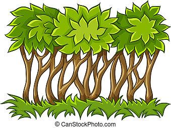 bush, com, verde sai, ligado, capim