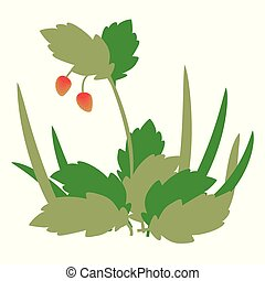 bush composition with red sweet strawberry and blond green leaves and grass vector