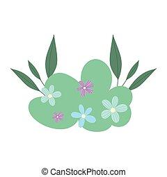bush flowers leaves foliage decoration cartoon isolated icon design