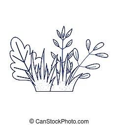 bush foliage leaves nature botanical isolated icon design line style