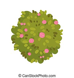 Bush in the form of a circle with flowers. Vector illustration on white background.