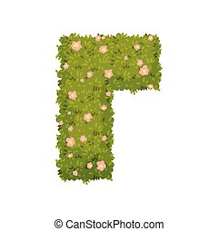 Bush in the shape of a corner. View from above. Vector illustration on white background.