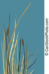 Bush of Swamp Reed on a Lake
