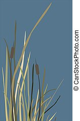 Bush of Swamp Reed on a Lake