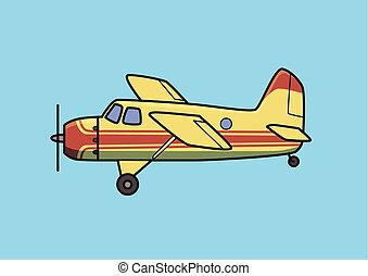 Bush plane, piston aircraft, airplane. Flat vector illustration. Isolated on blue background.