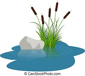 Bush reeds with stone on the water. Reeds stern and grey stone reflected in the lake water with water rounds