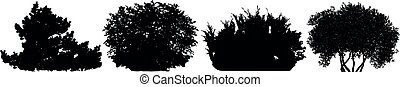 Bush silhouette vector set