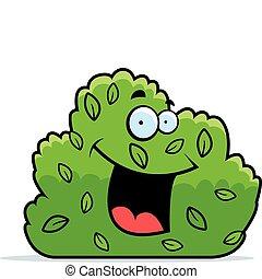 Bush Smiling - A cartoon green bush smiling and happy.