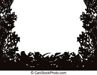 bush, vetorial, isolado, quadro