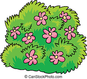 bush with flowers - cartoon Illustration of green bush with...