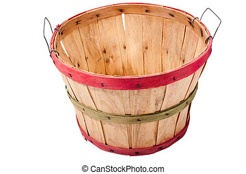 an empty wooden basket isolated on a white background