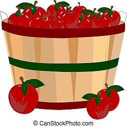 bushel basket of red ripe apples with water droplets